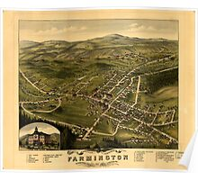 Panoramic Maps Bird's eye view of the village of Farmington Stafford County New Hampshire 1877 Poster