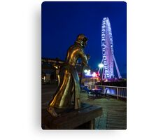 Christopher Columbus Oversees the Construction of the Seattle Great Wheel at Waterfront Park Canvas Print