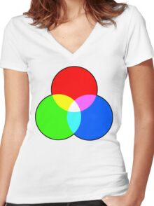 RGB VENN Women's Fitted V-Neck T-Shirt
