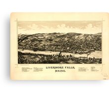 Panoramic Maps Livermore Falls Maine Canvas Print