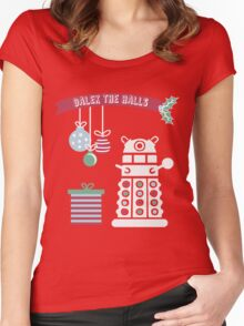 """""""Dalek the halls"""" Christmas Design Women's Fitted Scoop T-Shirt"""