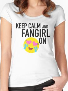 Keep Calm and Fangirl in Black Women's Fitted Scoop T-Shirt