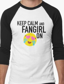 Keep Calm and Fangirl in Black Men's Baseball ¾ T-Shirt