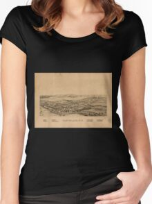 Panoramic Maps Cleveland NY Women's Fitted Scoop T-Shirt