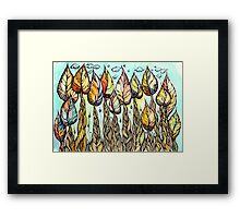 Autumn grove. Hand drawn watercolor and ink drawing Framed Print