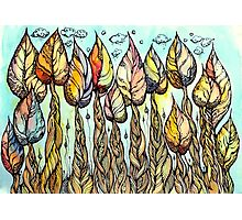Autumn grove. Hand drawn watercolor and ink drawing Photographic Print
