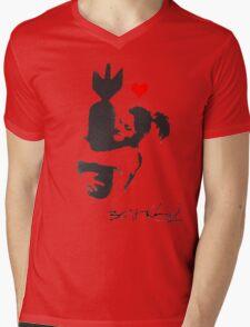 Banksy Hugger Red Mens V-Neck T-Shirt