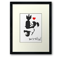 Banksy Hugger Red Framed Print