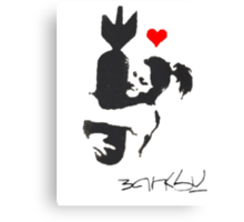 Banksy Hugger Red Canvas Print