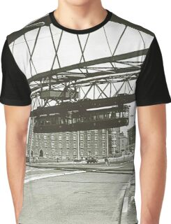 Vintage Wuppertal Floating Train Photo Graphic T-Shirt