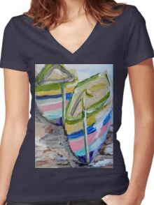 Mates Women's Fitted V-Neck T-Shirt