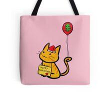 Merry Christmas Manga Cat wth red balloon, hand drawn Tote Bag