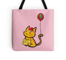 Merry Christmas Manga Cat wth red balloon, hand drawn Tote Bag
