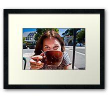 Sun. Coffee. Happiness.  Framed Print