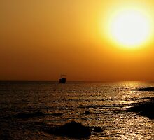 Aground In A Cyprus Sunset by Stan Owen