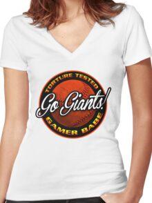 Giants Gamer Babe Women's Fitted V-Neck T-Shirt