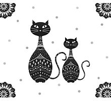 Black Cat Illustration Photographic Print