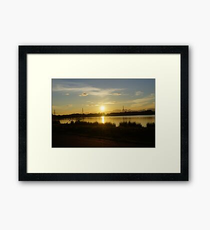 Sunset Drumpellier Country Park Scotland UK Framed Print