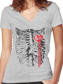 Derby loving sketetal system. Women's Fitted V-Neck T-Shirt