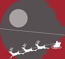"""That's not a moon"" Death Star Santa Christmas design by Meg Smith"