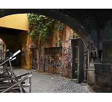An alleyway of colourful graffiti in Rome Photographic Print