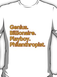 The Avengers Tony Stark Iron Man Genius Billionaire Playboy Philanthropist Red and Gold T-Shirt