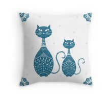 Blue Cat Illustration Throw Pillow