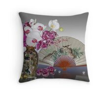 Asian still life with orchids Throw Pillow