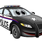 Police Car Cartoon BW by Graphxpro