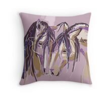 Horses Purple pair Throw Pillow