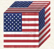 Vintage American Flag Cube by Nhan Ngo