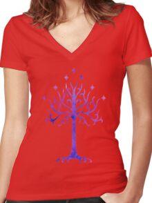 LOTR // TREE OF GONDOR // MINIMALIST POSTER Women's Fitted V-Neck T-Shirt