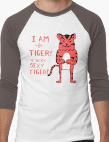 Sexy Tiger - funny cartoon illustration with typography in pink (?) Men's Baseball ¾ T-Shirt