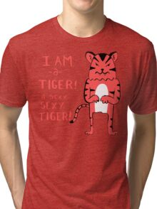 Sexy Tiger - funny cartoon illustration with typography in pink (?) Tri-blend T-Shirt