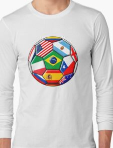 Brazil 2014 - soccer with various flags Long Sleeve T-Shirt