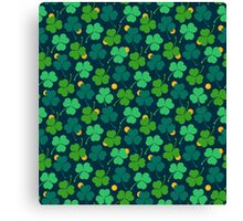 Happy emerald. Green trefoils pattern with coins Canvas Print