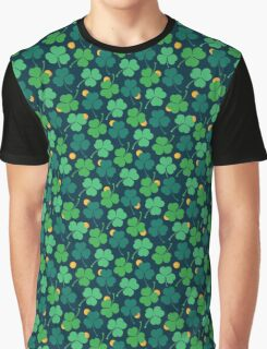 Happy emerald. Green trefoils pattern with coins Graphic T-Shirt