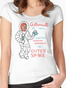 Scientific Astronauts - funny cartoon drawing with handwritten text Women's Fitted Scoop T-Shirt
