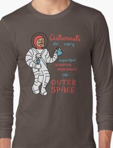 Scientific Astronauts - funny cartoon drawing with handwritten text Long Sleeve T-Shirt