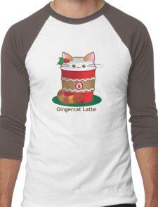 Purrista Pawfee: Cute Christmas Coffee Cat Men's Baseball ¾ T-Shirt