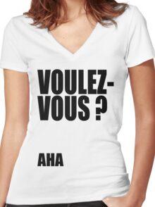 Voulez-Vous? AHA! Women's Fitted V-Neck T-Shirt