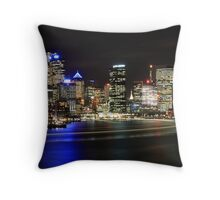 Sydney CBD and Manly Ferry by Night Throw Pillow