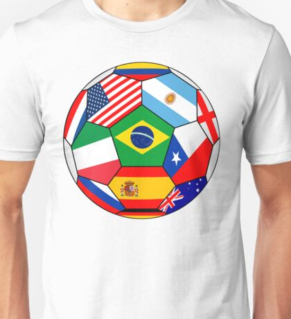 Soccer with various flags - Brazil 2014 Unisex T-Shirt