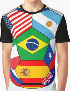 soccer with various flags - Brazil 2014 Graphic T-Shirt