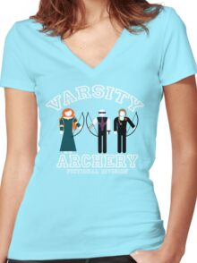 Varsity Archery (Fictional Division) Women's Fitted V-Neck T-Shirt