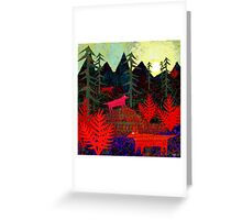 Three dotty foxes in the pines Greeting Card