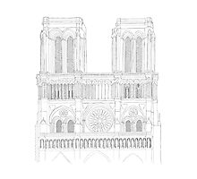 Notre Dame Cathedral - urban sketch Photographic Print
