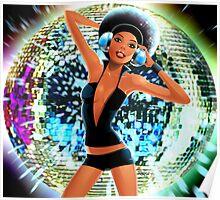 Disco Girl Dancing retro funky cool glitter ball  Poster