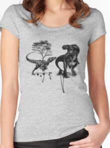Dinosaur fight Women's Fitted Scoop T-Shirt