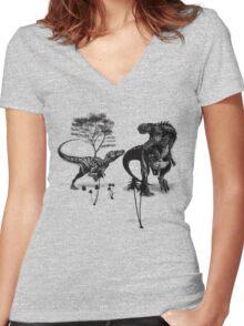 Dinosaur fight Women's Fitted V-Neck T-Shirt